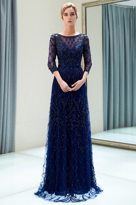 A-line Illusion Neckline Long Beading Evening Gowns with Sleeves_13