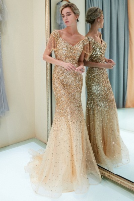 Off-the-shoulder V-neck Mermaid Floor Length Sequins Evening Dresses_15