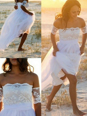 Sleeveless A-Line Floor Length Bridal Gowns Cheap   Sexy Off The Shoulder Lace Chiffon Wedding Dresses_3