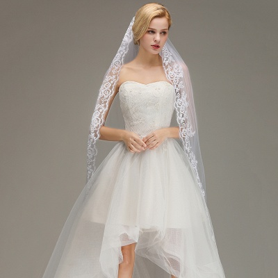 One Layer Wedding Veil with Comb Lace Edge Appliqued Bridal Veil?_3