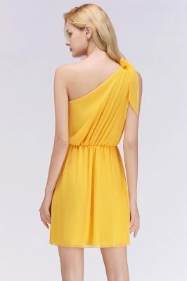 Elegant A-Line Chiffon One-Shoulder Sleeveless Ruffles Short Bridesmaid Dresses with Bow_2
