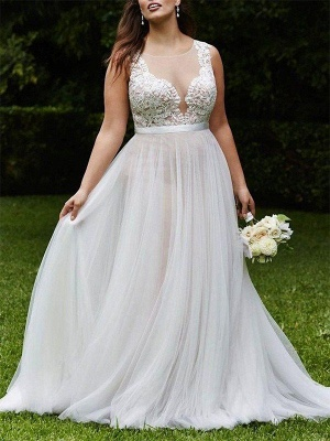 Sleeveless Sexy Court Train Lace Bridal Gowns | Sexy Tulle Scoop Wedding Dresses_1