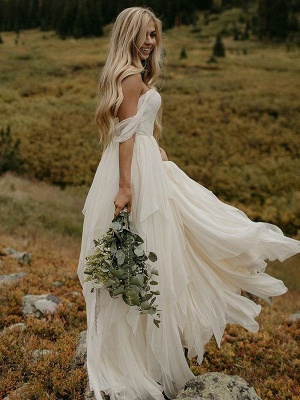 Sexy Off The Shoulder Bridal Gowns Sexy   Chiffon Ruched Floor Length Sleeveless Wedding Dresses_1