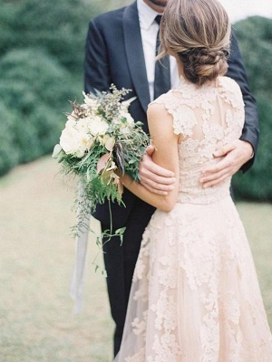 Tulle A-Line Sweep Train Bridal Gowns with Appliques | Sexy Sleeveless V-neck Wedding Dresses Cheap_3
