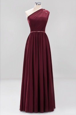 Elegant A-Line Burgundy Chiffon One-Shoulder Sleeveless Ruffles Floor-Length Bridesmaid Dresses with Beadings_14