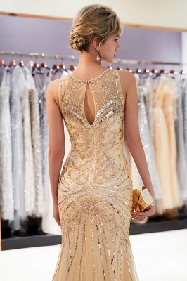 Glamorous Beading Mermaid Sleeveless Long Evening Dresses_15