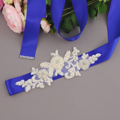 Beautiful Satin Flower Wedding Sash with Pearls_4