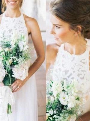 Floor Length A-Line Cheap Halter Tulle Sleeveless Wedding Dresses Online_3