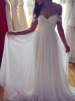 Sweep Train Sexy Chiffon Sleeveless Bridal Gowns | Appliques Lace Off The Shoulder Wedding Dresses_3