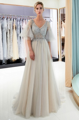 Floor Length A-line V-neck Beading Tulle Evening Gowns with Sleeves_2