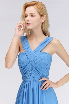Elegant A-Line Chiffon Straps Sleeveless Ruffles Floor-Length Bridesmaid Dresses_6