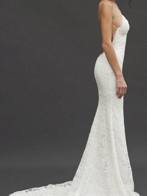 Court Train Close-fitting Spaghetti Straps Sexy Bridal Gowns | Cheap Lace Sleeveless V-neck Wedding Dresses_4