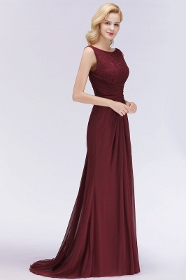 Elegant A-Line Burgundy Chiffon Lace Scoop Sleeveless Ruffles Floor-Length Bridesmaid Dresses_4