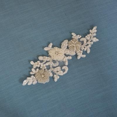 Beautiful Satin Flower Wedding Sash with Pearls_3