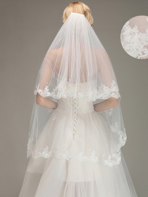 Two Layers Tulle  Appliques Comb Wedding Veil_2