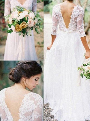 Lace Chiffon V-neck Floor Length Bridal Gowns Cheap   Half Sleeve Appliques Sexy Wedding Dresses_1