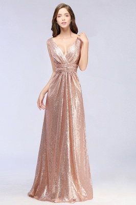 Elegant A-line Sequined V-Neck Sleeveless Floor-Length Bridesmaid Dresses_4