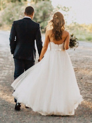 Floor Length Tulle A-Line Bridal Gowns Cheap | Sexy Ruched Sweetheart Sleeveless Wedding Dresses_3