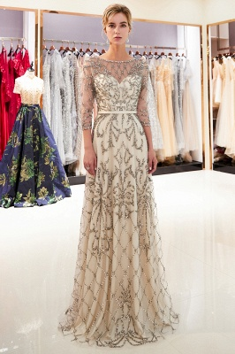 A-line Illusion Neckline Long Beading Evening Gowns with Sleeves_10