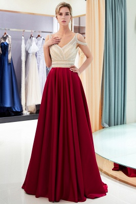 Burgundy A-line V-neck Sleeveless Crystal Beading Evening Dresses_5