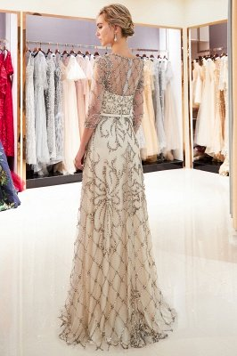 A-line Illusion Neckline Long Beading Evening Gowns with Sleeves_5