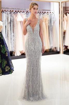 Deep V-neck Mermaid Sleeveless Tassel Beading Party Dresses_4
