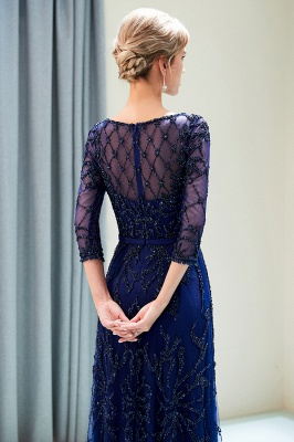 A-line Illusion Neckline Long Beading Evening Gowns with Sleeves_19