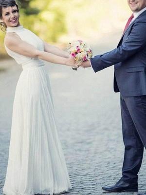 Floor Length Sexy Sleeveless Bridal Gowns | Cheap Halter Ruffles Tulle Wedding Dresses_5