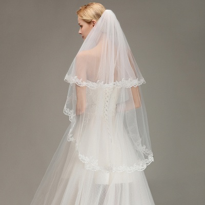 Two Layers Lace Edge Wedding Veil with Comb Soft Tulle Bridal Veil_6