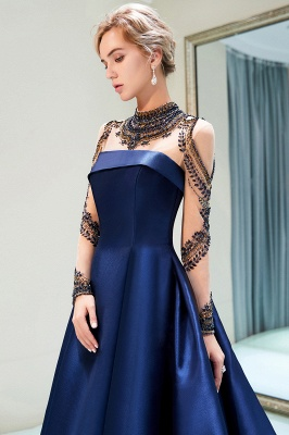 Beading Neckline A-line Long Sleeves Satin Evening Gowns_6