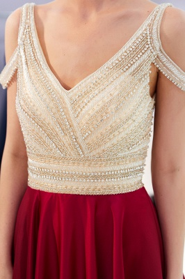 Burgundy A-line V-neck Sleeveless Crystal Beading Evening Dresses_9