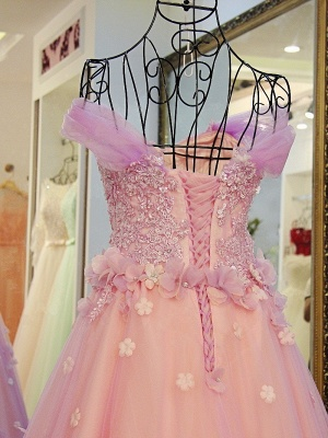 Ball Gown Tulle Off-The-Shoulder Floor-Length Applique Prom Dresses_5