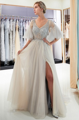 Floor Length A-line V-neck Beading Tulle Evening Gowns with Sleeves_8