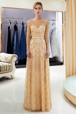 A-line Illusion Neckline Long Beading Evening Gowns with Sleeves_20