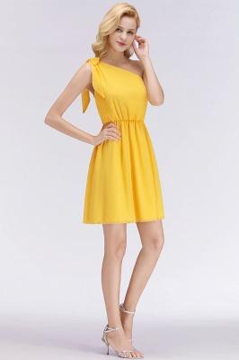 Elegant A-Line Chiffon One-Shoulder Sleeveless Ruffles Short Bridesmaid Dresses with Bow_6