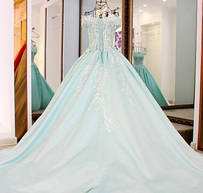 Sequins Off-The-Shoulder Applique Ball Gown Chapel Train Evening Dresses_3
