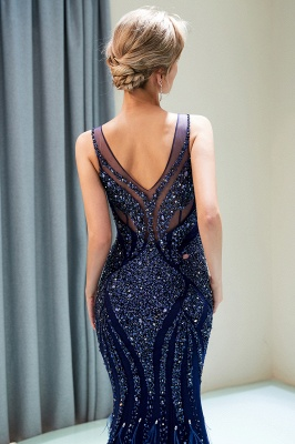 Mermaid Sleeveless V-neck Sequins Pattern Long Evening Gowns_11