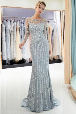 Mermaid Long Sleeves Sequined Pattern Evening Dresses_6