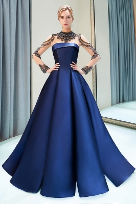 Beading Neckline A-line Long Sleeves Satin Evening Gowns_1