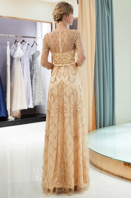 A-line Illusion Neckline Long Beading Evening Gowns with Sleeves_22
