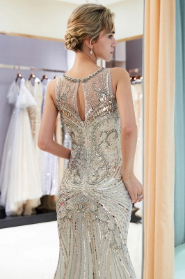 Glamorous Beading Mermaid Sleeveless Long Evening Dresses_7