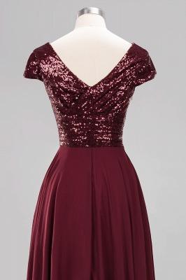 Elegant A-Line Burgundy Chiffon Sequined V-Neck Sleeveless Ruffles Floor-Length Bridesmaid Dresses_14