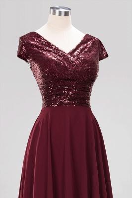 Elegant A-Line Burgundy Chiffon Sequined V-Neck Sleeveless Ruffles Floor-Length Bridesmaid Dresses_13
