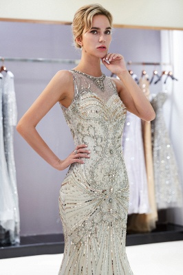 Glamorous Beading Mermaid Sleeveless Long Evening Dresses_4