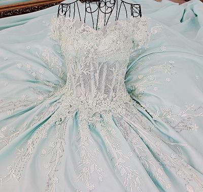 Sequins Off-The-Shoulder Applique Ball Gown Chapel Train Evening Dresses_6