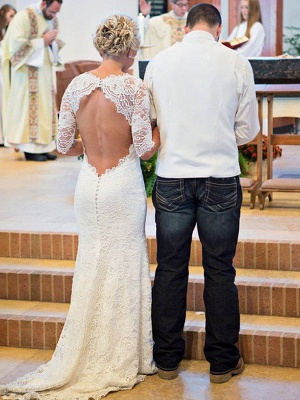 Half Sleeve Sweep Train Close-fitting Bridal Gowns | Cheap Scoop Wedding Dresses Online_3