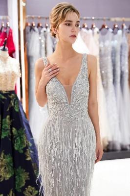 Deep V-neck Mermaid Sleeveless Tassel Beading Party Dresses_7