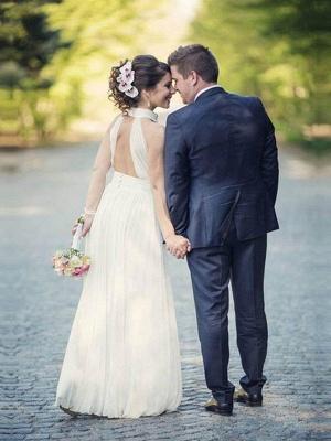 Floor Length Sexy Sleeveless Bridal Gowns | Cheap Halter Ruffles Tulle Wedding Dresses_3