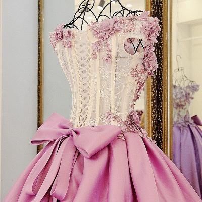 Lace Court Train A-Line Ball Gown Applique Bow Evening Dresses_5