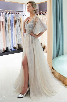 Floor Length A-line V-neck Beading Tulle Evening Gowns with Sleeves_12
